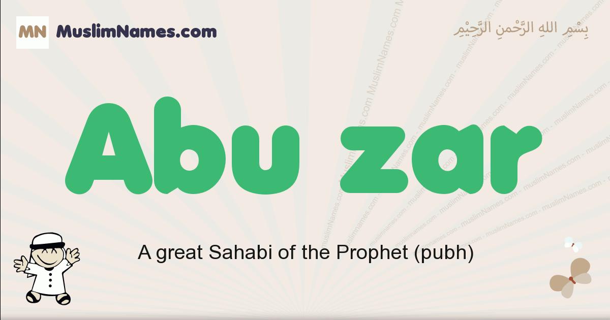 Abu Zar muslim boys name and meaning, islamic boys name Abu Zar