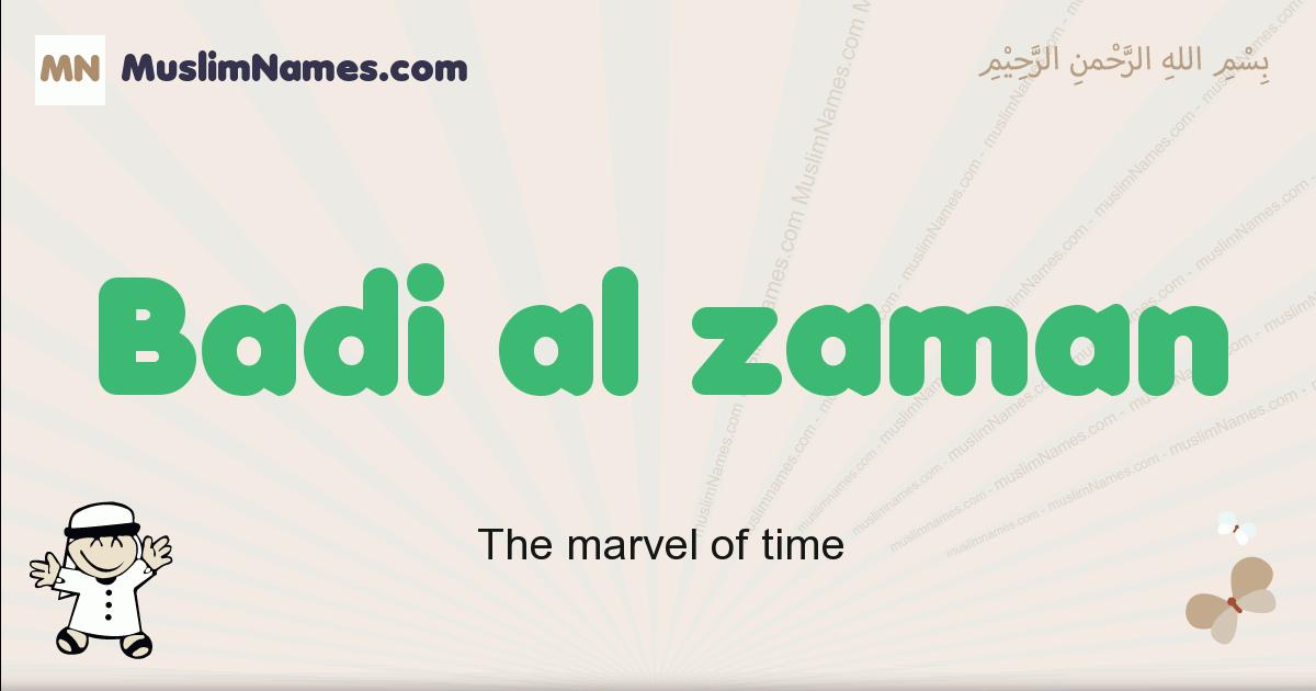 Badi Al Zaman muslim boys name and meaning, islamic boys name Badi Al Zaman