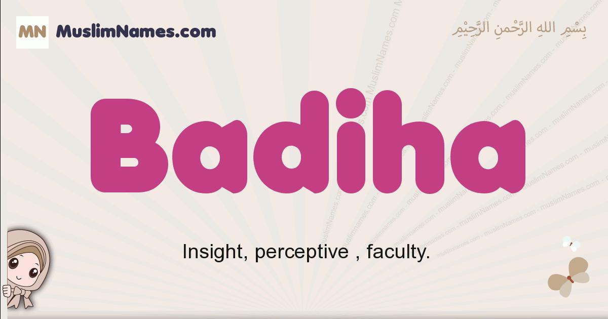 Badiha muslim girls name and meaning, islamic girls name Badiha
