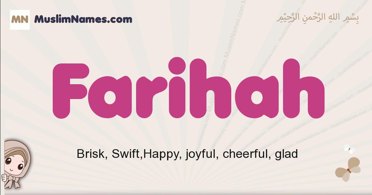 Farihah muslim girls name and meaning, islamic girls name Farihah