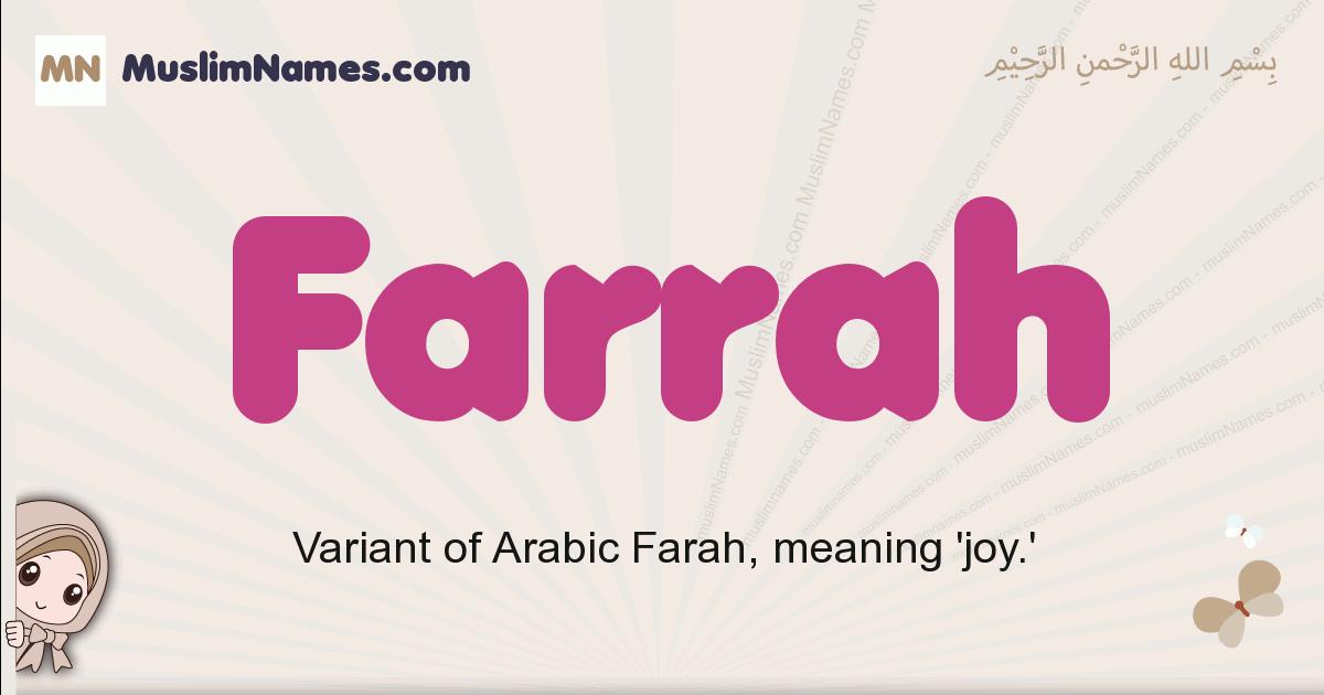 Farrah muslim girls name and meaning, islamic girls name Farrah