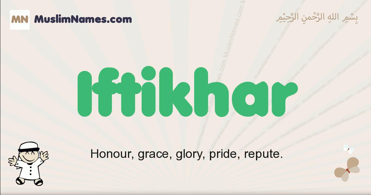 Iftikhar muslim boys name and meaning, islamic boys name Iftikhar