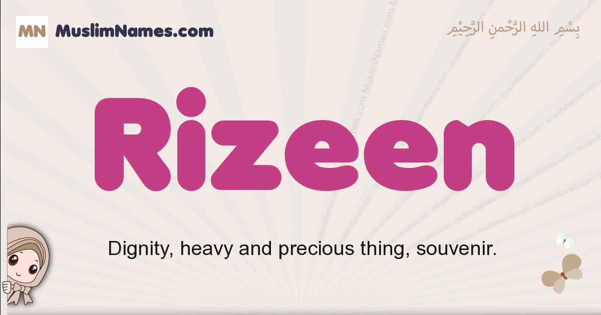 Rizeen muslim girls name and meaning, islamic girls name Rizeen