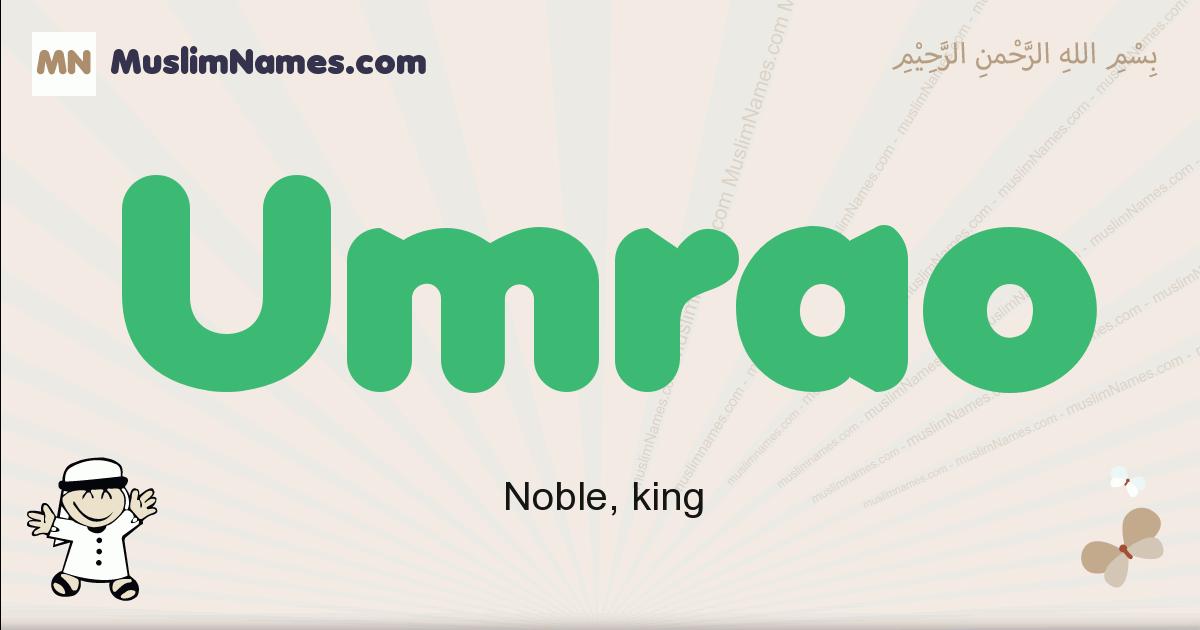Umrao muslim boys name and meaning, islamic boys name Umrao
